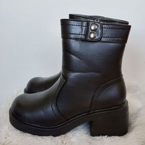 Route 66 Faux Leather Chunky Combat Moto Boots 6.5